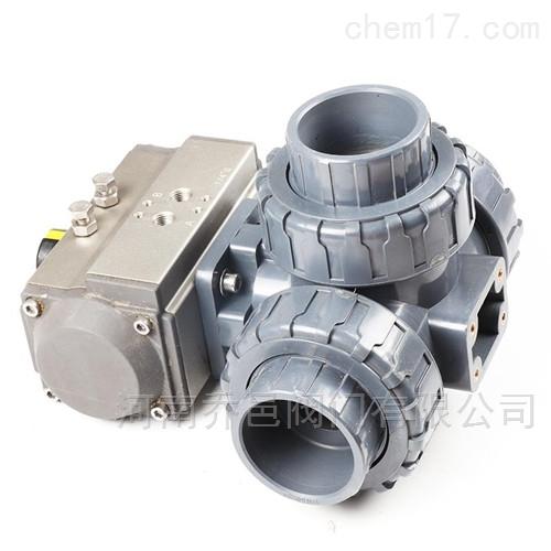 气动UPVC承插三通球阀 UPVC气动三通球阀