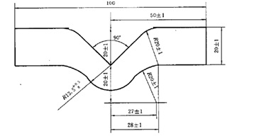 图1 直角撕裂力测试试样形状